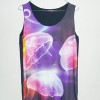 Sky Galaxy Shirt Women singlet TopTank size M Jellyfish tank top Thin shirt Galaxy Shirt Purple Pink Cosmic Space Universe teen Sleeveless