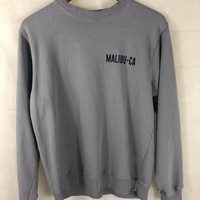 John Galt Blue/Grey Crewneck 'Malibu-CA' California Surf Size Medium Preowned Womens Sweatshirt