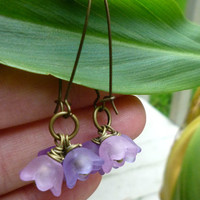 Purple, lavender, lilac flower earrings. Spring jewelry. Bronze and purple jewelry