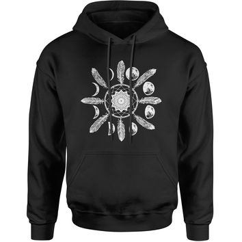 White Dreamcatcher Moon Phases Adult Hoodie Sweatshirt