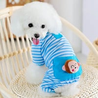 Pet Dogs Puppy Cotton Stripe Jumpsuit Pajamas Clothes Costume