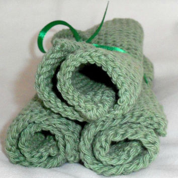 Hand crafted knit dish cloth Set of 3-Sage/Green