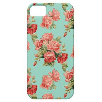 Vintage Rose Flower Pattern iPhone 5 Case