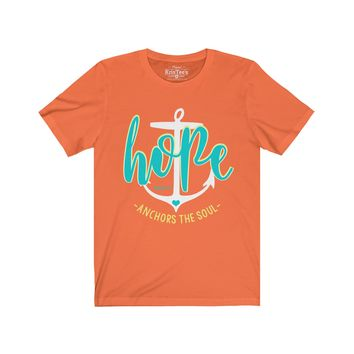 Hope Anchors The Soul Teal Unisex Jersey Short Sleeve Tee