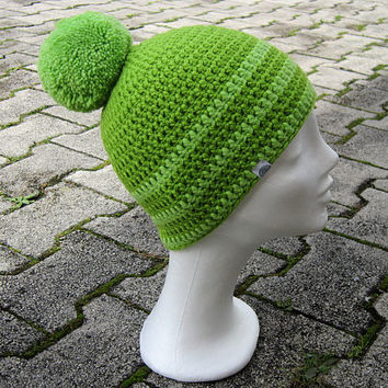 pom pom beanie,green beanie,unisex beanie,ski beanie,women winter hat,winter men beanie,winter stripe beanie,chunky hat unisex,green ski hat