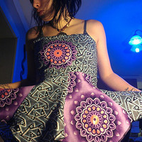 Custom Strapless Sacred Mandala Backless Lace Up Pixie Point Apron Top Hippie Boho Geometry African Wax Batik