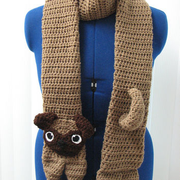 Adult Size Pug Scarf Crochet Pattern Direct Download