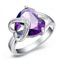 JewelryWe Elegant Diamond Accent Amethyst Purple Cz Love Double Heart Promise Ring Engagement Wedding Band in 18k Platinum Plated:Amazon:Jewelry