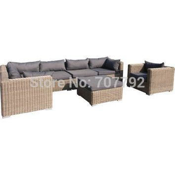 2015New!outdoor 6 Seater Wicker Lounge sofa Set