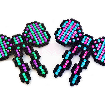 Beau - Pretty Bow with Tails Sparkly 'Anywhere Clip' - Violet Green Turquoise Hot Pink or Your Custom Colours Multi-Accessory Hair Clip