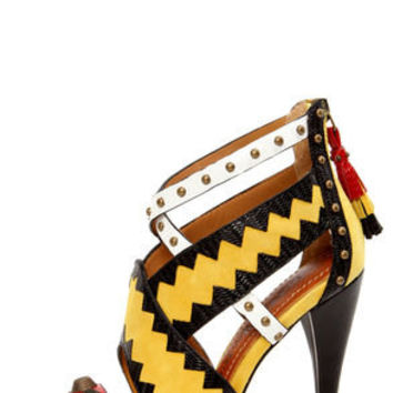 Blonde Ambition Renata Dijon Yellow Strappy Studded Sandals