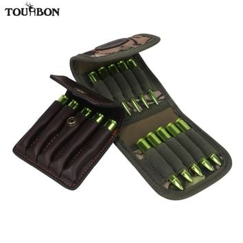 Tourbon Hunting Gun Accessories Rifle Cartridges Holder Camo Ammo Shells Wallet Bullet Genuine Leather Pouch Carrier 2pcs