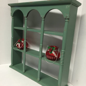 Curio Shelf, Vintage Teacup Shelf, Wood Shelf, Distressed Display Shelf, Plate Holder, Curio Cabinet, Green Curio Shelf, Cottage Decor