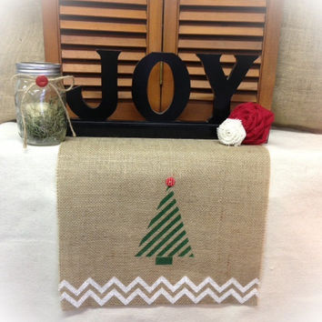 "Burlap Table Runner  16"" & 18"" wide with a Christmas Tree and Chevron"