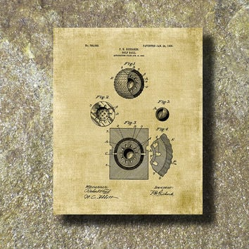 Golf Ball Patent Print 1905 Art Illustration Printable Instant Download Poster UP0100bur