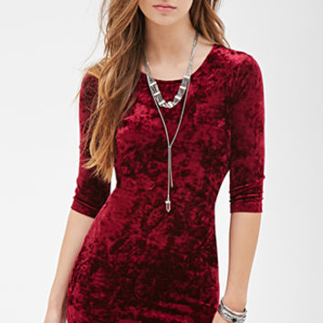 FOREVER 21 Hook-Eye Velveteen Dress
