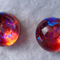 Hunger Games Tiny Little Fused Dichroic Glass Post Earrings Jewelry Pink Fire with Blue 103