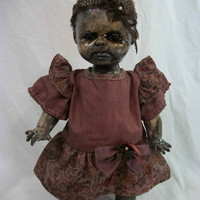 "One of A Kind Altered Art  Creepy Zombie Doll ""Baby Cakes"" Freaky Awful Scary Haunted Weird L.Cerrito Salvage Artist Doll"