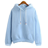 Womens Hoodie Sweatshirts  - Thick Long Sleeve - Light Blue