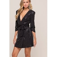 Black Plunging Wrap Mini Dress