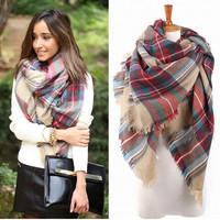 2014 Autumn And Winter Lady Women Blanket Oversized Tartan Scarf Wrap Shawl lady girls Plaid Cozy warm Checked Pashmina (Color Multicolor) = 1958235204