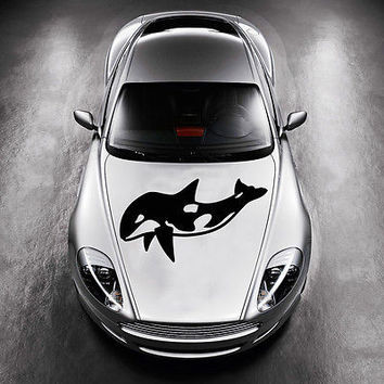 BEAUTIFUL DOLPHIN FISH ANIMAL DESIGN HOOD CAR VINYL STICKER DECALS MURALS SV1364