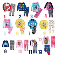 2014 Hot Boys Baby Girls Frozen Pajamas Sets Kids Anna Elsa Princess Pajamas Children Summer And Autumn Clothes Cotton 2 Piece Suit.