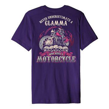 Never Underestimate A Glamma Who Rides A Motorcycle Shirt