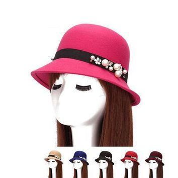 2017 Spring Fashion Pearl flowers Women Ladies Wool Fedora Hat Bucket Dome Cloche Bow Felt Hats Women Cap Headwear Chapeau