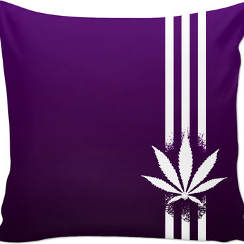 420 Black and deep purple throw pillow design, ganja leaf and three stripes, weed, pot, marihujana