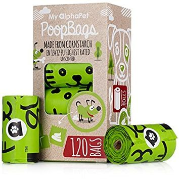 Dog Poop Bags Refill Rolls - Large Size 9 x 13 Inches - Earth Friendly Highest ASTM D6400 Rated - Leak Proof Doggie Waste Bags