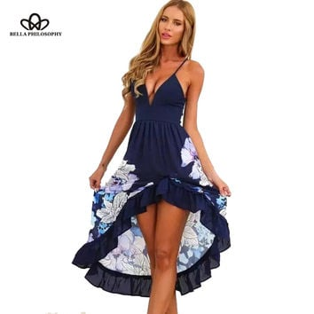 2017 spring summer new European style blue/white deep V-neck sleeveless sexy floral print ruffles long women blue beach dress
