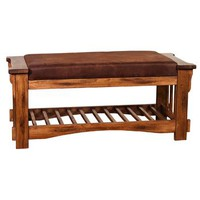 Sunny Designs Bench with Cushion seat In Rustic Oak