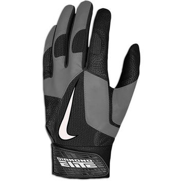 Nike Men's Diamond Elite Pro Black/Gray Baseball Batting Glove