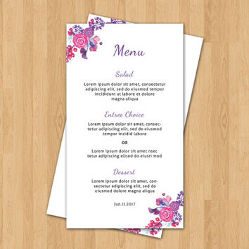 Printable Wedding Menu Template | Wedding Menu Card |  Editable Microsoft Word & Photoshop Template | Instant Download | WP-058