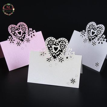 50pcs Love Heart Laser Cut Wedding Party Table Name Place Cards