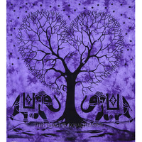 Purple Large Hippie Elephants With Love Tree College Tapestry Bedspread on RoyalFurnish.com