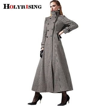 Fashion Vintage Women Cashmere Coats Long Double Button Jackets Slim Turn Collar Outwear Plaid Solid Overcoats