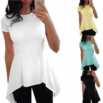 Women Ruffle O-Neck Peplum Waist Slim Fit Blouse Plus Size