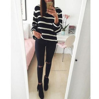 Striped round neck long-sleeved knit Pullovers Tops Sweater