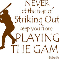 Baseball Quote Babe Ruth Playing The Game Vinyl Wall Decal Boys Bedroom Decor