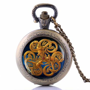 Celtic knot Pocket Watch Necklace  Irish Jewelry Viking Rune Necklace Pagan Symbol Colier Femme 2016