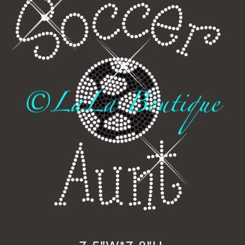 Soccer Aunt iron on hot fix rhinestone heat transfer - appliqué - rhinestone hotfix heat transfer, shirts, applique, clear and black
