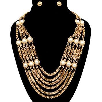 Chain with Pearl Necklace Set