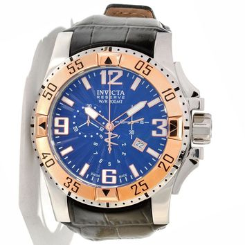 Invicta 10900 Men's Reserve Excursion Blue Textured Dial Rose Gold Tone Bezel Chronograph Leather Strap Dive Watch