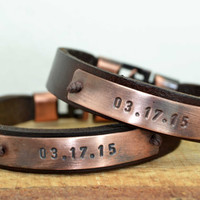 FREE SHIPPING Personalized Couple Bracelet,Personalized Leather Cuff,Mens Bracelet,Personalized bracelet,Couple leather bracelet,Valentine