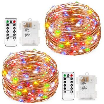 2 Set Multi-color Fairy String Light Battery Operated Remote Control Waterproof  8 Modes 60 LED String Light 20ft Copper Wire Firefly Rope Lights For Parties, Wedding, Festival Decorations