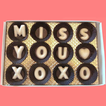 Miss You XOXO Large White Chocolate Letters-Long Distance Holiday Greeting Gift for Girl Boy Friend-Made to Order