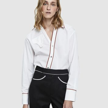 Lorod / Asymmetrical Placket Shirt in White/Rust