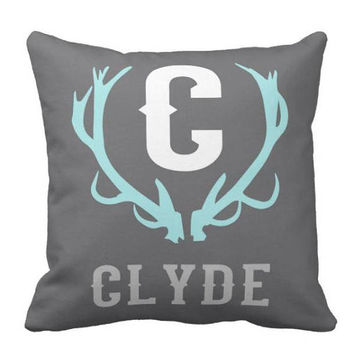 Boy Antler PILLOW - Rustic Nursery Decor - Deer Antler Name Pillow - Antler Initial Pillow - Boy Name Pillow - Pillow Cover or With Insert
